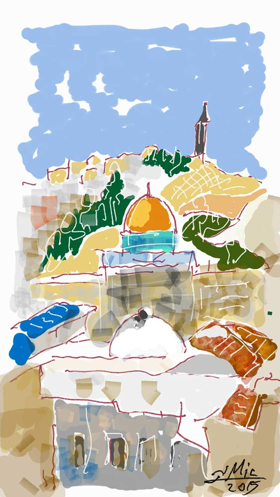 Golden dome and mosque in Jerusalem, with mount olives and church