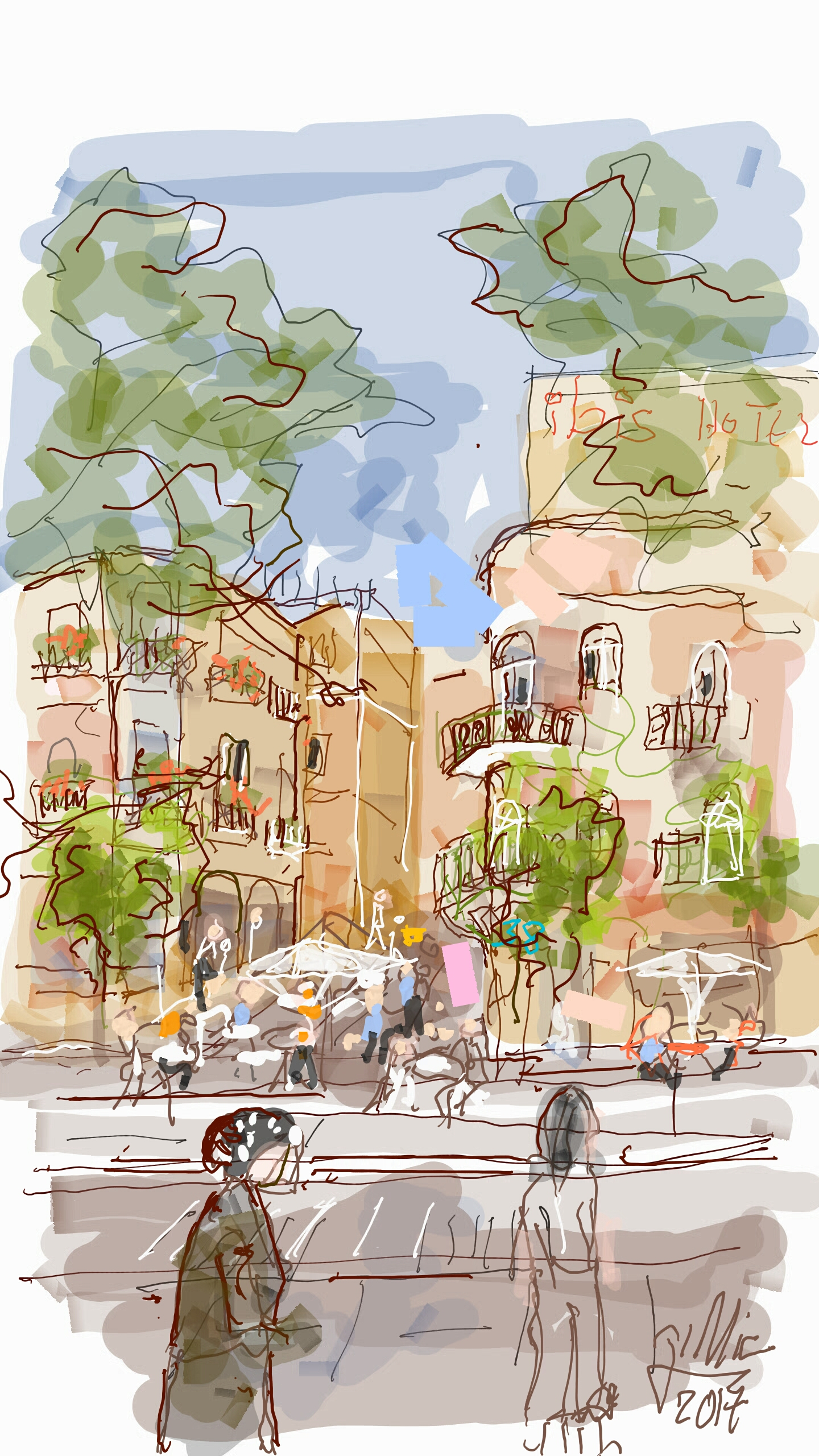 A Digital Free Hand Painting Journey Along Jaffa Street in Jerusalem